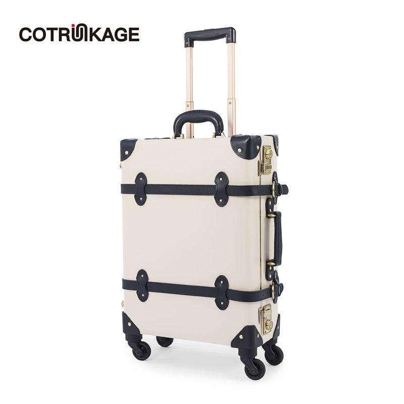 "COTRUNKAGE blanco 20 ""cuero genuino pequeña maleta de viaje equipaje de aluminio con cerradura TSA"