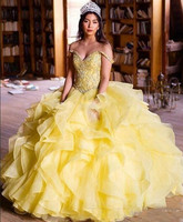 Yellow Quinceanera Dresses Off The Shoulder Organza Cascaded Prom Dresses Masquerade Ball Gown Sweets 15 Dress Vintage Gown 2018