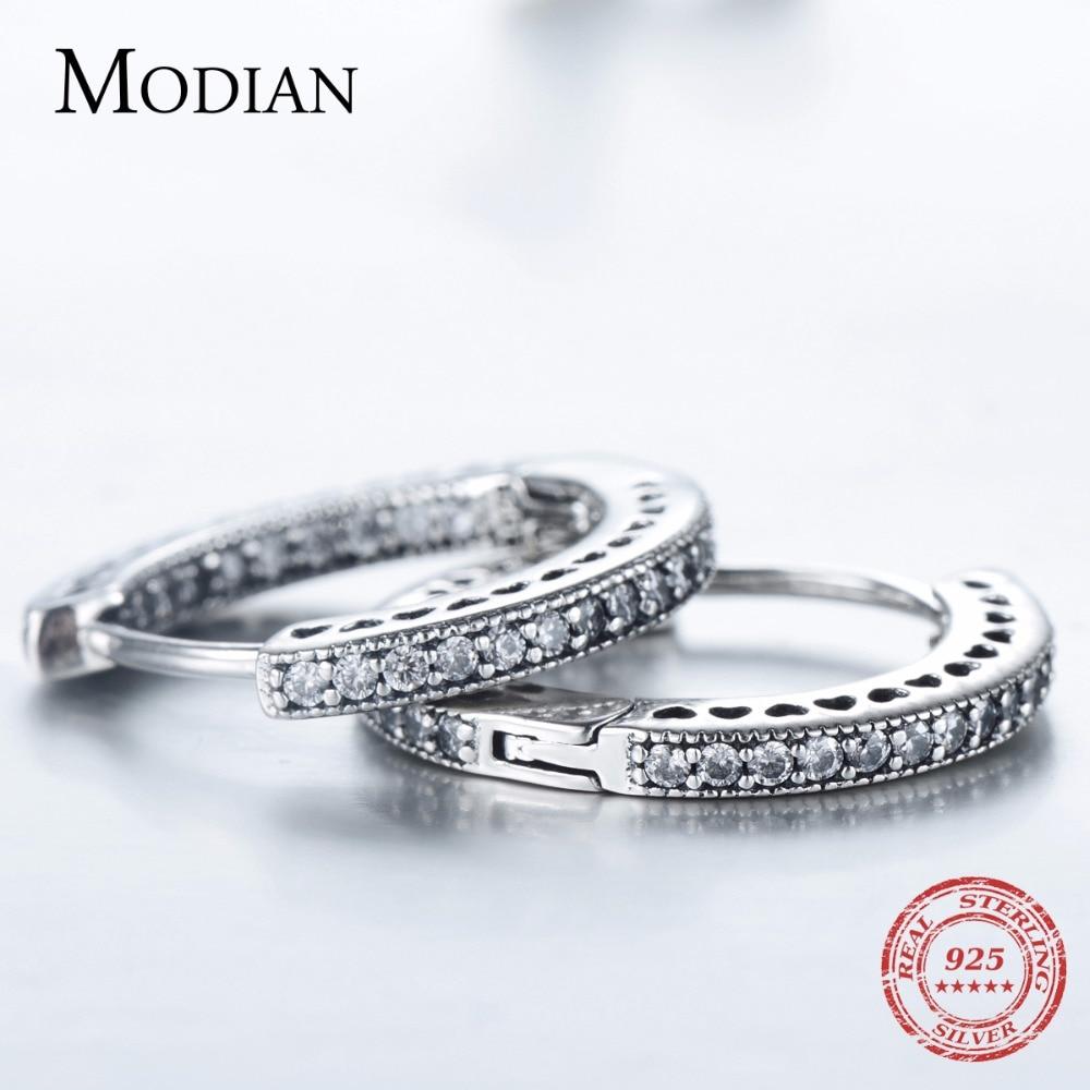 Modian Real 925 Sterling Silver Classic Full Hearts Hoop Earrings Luxury Cubic Zirconia Fashion Jewelry For Women Wedding Gift 3