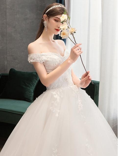 Plus Size Lace Flowers Peals Wedding Dresses Simple Elegant Wedding Gowns Bride Dress Boda robe de mariee Boat neck Off Shoulder 5