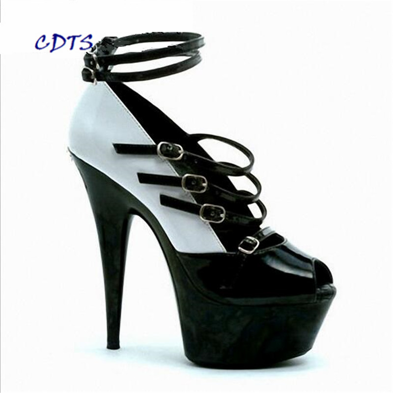 CDTS Plus:35-45 46 2016 spring/autumn Round Toe 15cm thin heels Ankle Strap platform sexy shoes women wedding pumps cdts plus 35 45 46 2016 spring summer 20cm ladies open toe ruffles thin high heels platform party pumps woman wedding shoes
