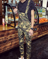 Nueva llegada Adolescentes moda hombre Casual babero Overol de Camuflaje Verde del ejército overol de Algodón delgado pantalones de harén ropa de Trabajo