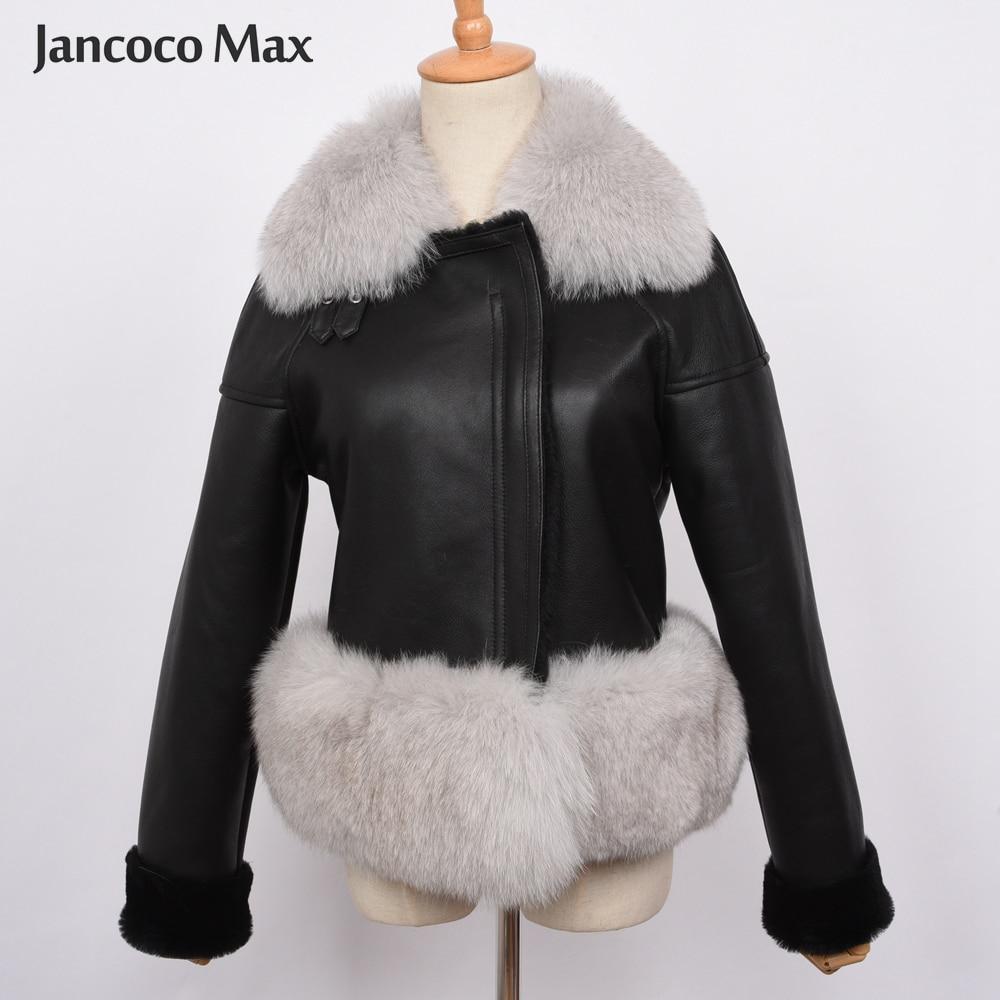 Luxury Women's Genuine Sheepskin Leather Jacket Top Quality Fox Fur Coat Winter Thick Warm Fashion Outerwear S7421
