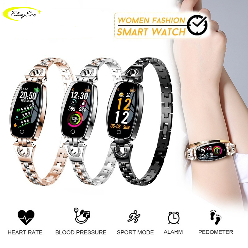 2018 Women Lady Fashion Smart Wristband Heart Rate Blood Pressure Female Smart Bracelet H8 Fitness Tracker Girl Smart Watch Band