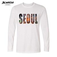 BLWHSA Autumn Men T Shirt South Korean Capital Seoul City Printed Casual 100 Cotton White Fit