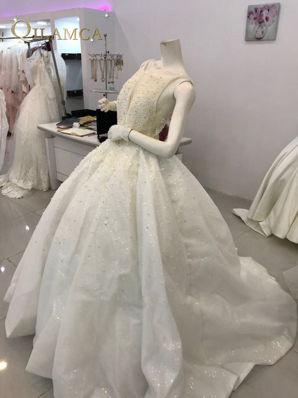 Vestido De Noiva 2018 Sexy Full Pearls Wedding Dress Luxury Ball Gown Bride Gowns Real Photos Custom Made