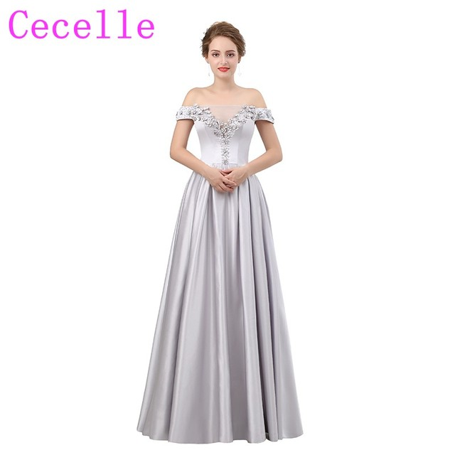 Silver Satin Beaded Crystrals Long Prom Dresses Off the shoulder ...