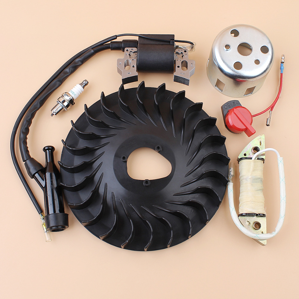 Flywheel Cooling Fan Ignition Charging Coil Starter Cup Kit For HONDA GX160 GX200 Chinese 168F 170F Trimmer Small Engine Motor wholesale gasoline generator accessories 168f 170f electric starter motor gx160 motor relay motor