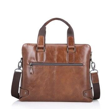 Leder Reißverschluss Portfolio | Vintage 100% Echtem Leder Tasche Männer Messenger Taschen Business Taschen Echt Leder Aktentasche Portfolio Handtaschen