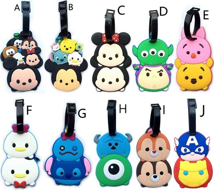 40 pcs/lot Tsum Tsum luggage tag Minnie Mickey Stitch America Iron Man Daisy Donald figures PVC bag pendants free shipping