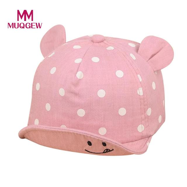 MUQGEW 2019 Dot Baby Caps smile Girl Boys Cap Summer Hats For Boy Infant Sun Hat With Ear Sunscreen Baby Girl Hat Spring Baby