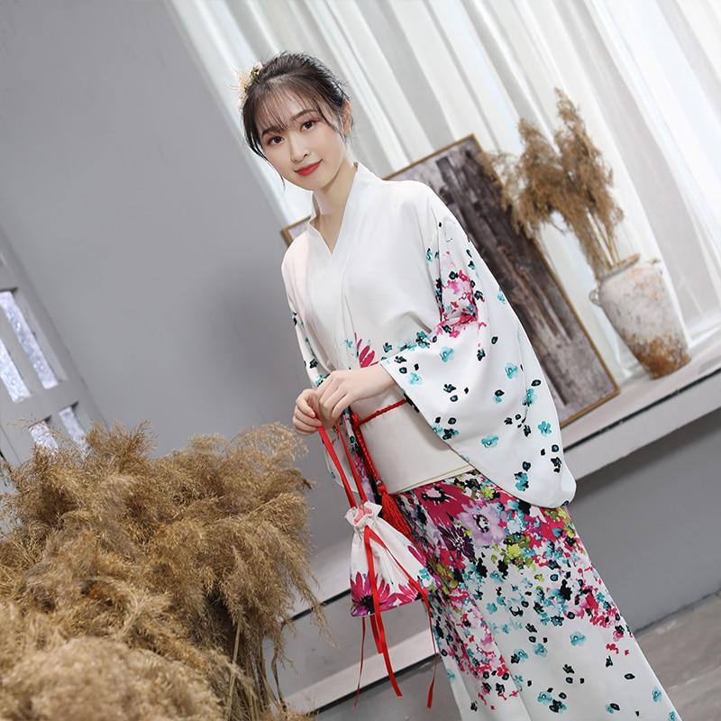2019 Japanesekimono Traditional Yukata Women Evening Dress Silk Rayon Kimono Yukata With Obi Dance Dress Cosplay Costume