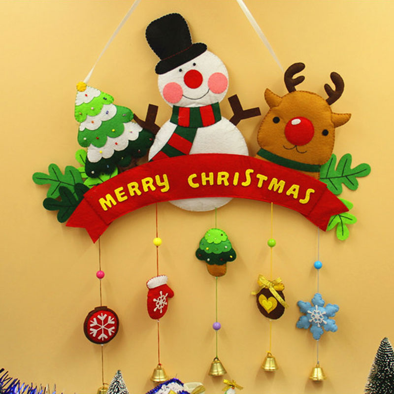 Handmade Free Cutting Felt Holiday Christmas Big Size Door Decoration Material DIY Package For Christmas Felt Cloth Set