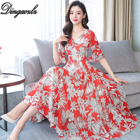 Dingaozlz 2019 Summer Chiffon Dress Flower Printed Maxi Dress Female V neck Bohemian Beach dress Plus size Women Vestidos