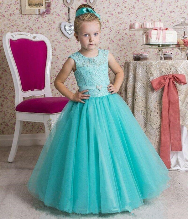 New Long Cheap   Flower     Girl     Dress   with Lace Keyhole Lace Up Back Tulle   Girls   Pageant Gowns Sleeveless Custom Made Kids Prom   Dress