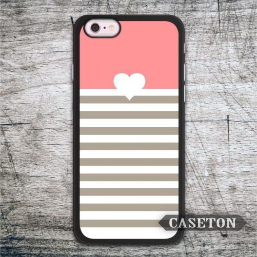 Coral Stripes With Heart Case For iPhone 7 6 6s Plus 5 5s SE 5c 4 4s and For iPod 5 Lovely Cute Ultra Protective Cover