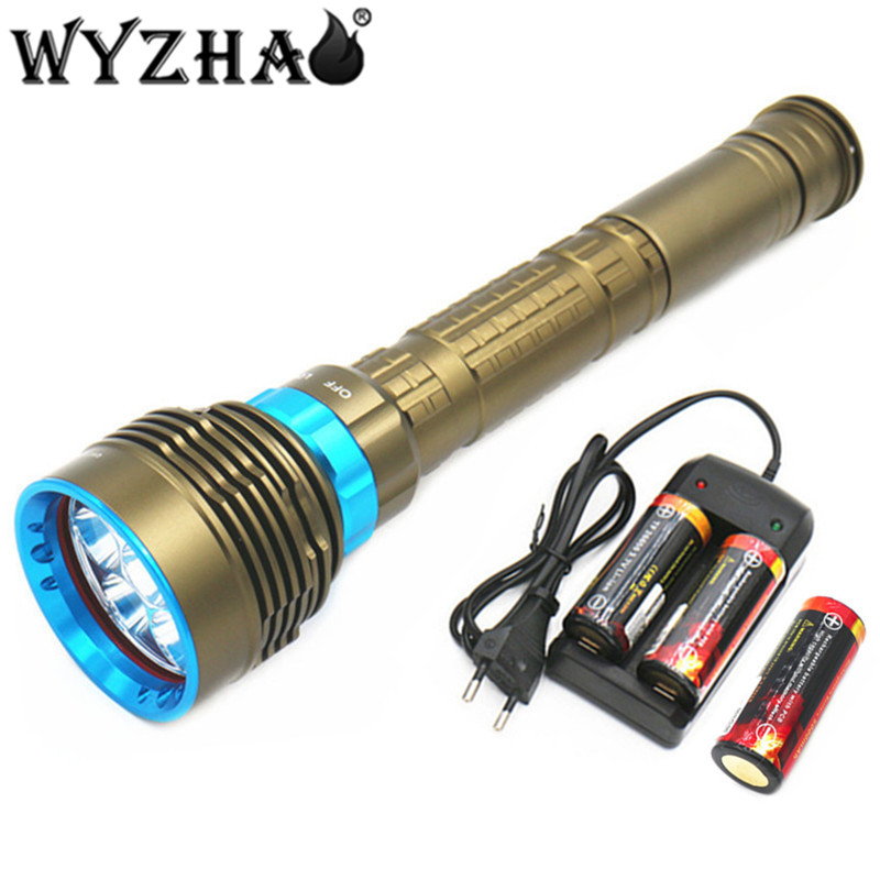 Diving light 7L2 LED Diving flashlight 26000 lumens Waterproof lamp submersible lamp underwater Swimming Torch Diving lights D 0 50m professional diving light 5000 lumens high power diving flashlight 3 led flashlight waterproof diving torch