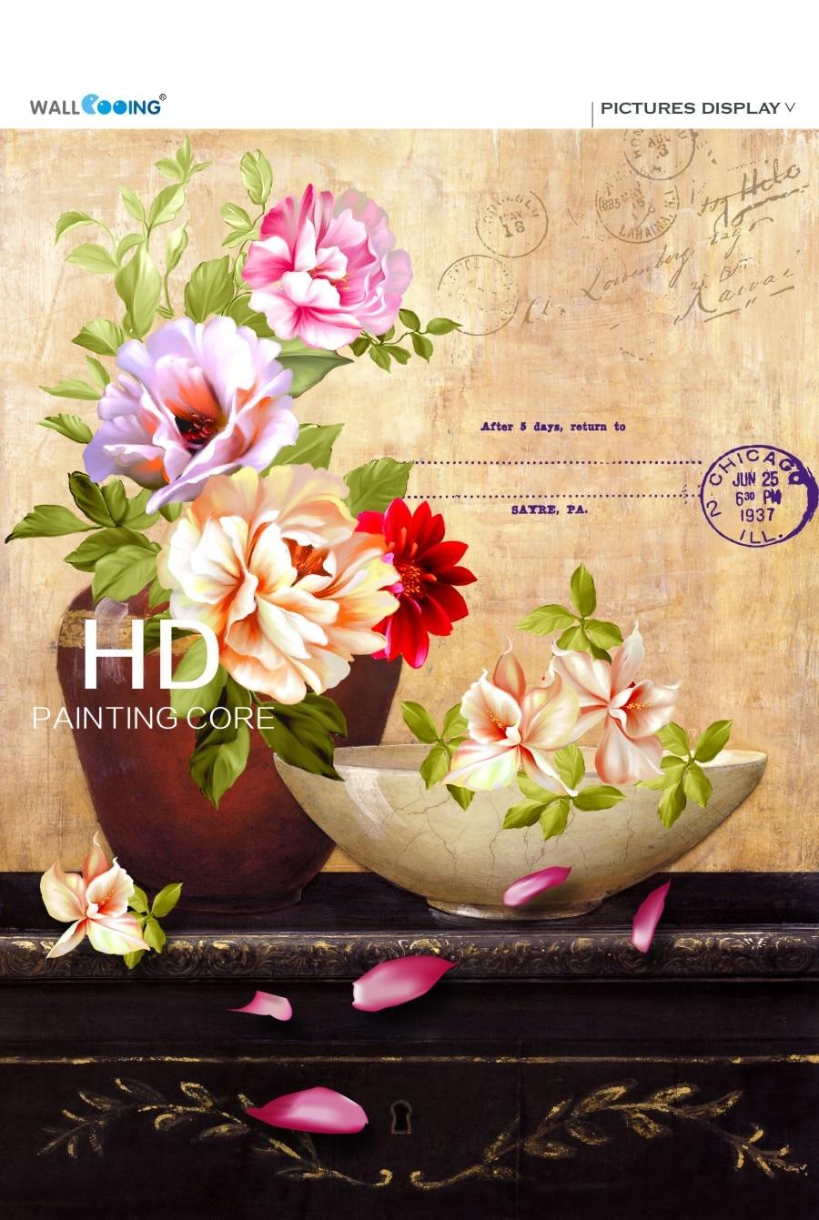 ②Vintage safflower canvas painting Magnolia Flower Blossom vase ...