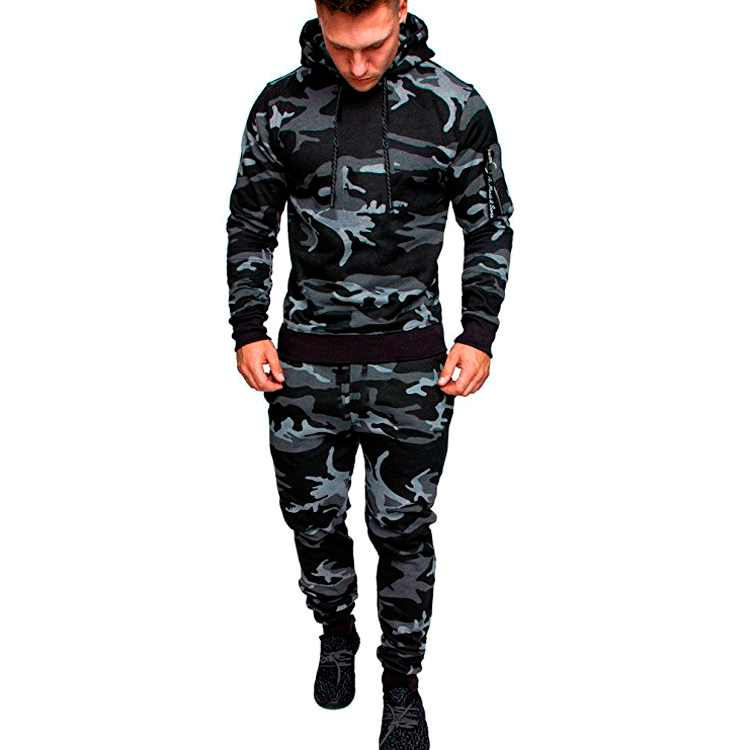 2019 Winter Trainingspak Mannen Camouflage Sportkleding Hooded Sweater Jas + Broek Sport Pak Mannelijke Chandal Hombre Survetement Homme