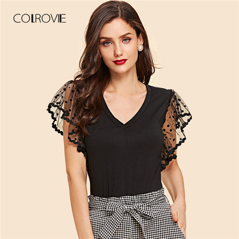 COLROVIE Black Dot Mesh Sleeve V Neck T-Shirt 2018 Summer New Slim Flounce Sleeve High Street Top Tee Basic Women Clothing