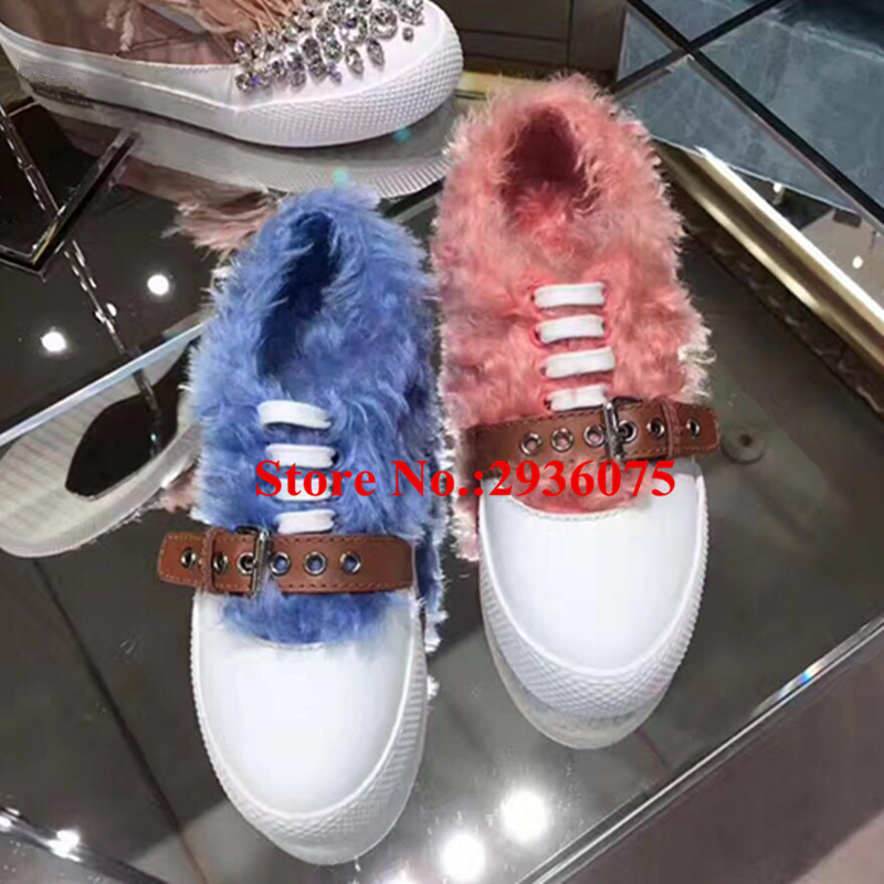 New Women Trainers Casual Flats Shoes Furry Fur Belt Buckle Lace Up Low Top Zapatillas Mujer Feather Chaussure Femme Shoes Woman 2017 male tenis flats lace up men casual shoes mens trainers flat goose shoes comfortable sport zapatillas hombre basket femme