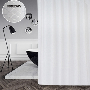 Image 2 - UFRIDAY ยี่ห้อวาฟเฟิลสีขาวผ้าม่านห้องน้ำกันน้ำโพลีเอสเตอร์หนาสำหรับโรงแรม Home ตกแต่งผ้าม่านอาบน้ำหน้าจอ