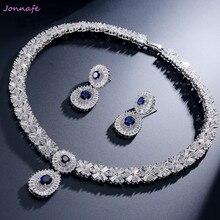 Jonnafe  Luxurys Bridal Wedding Gift Bridal Jewelry Set AAA Zirconia Water Drop Necklace Earrings For Women Prom