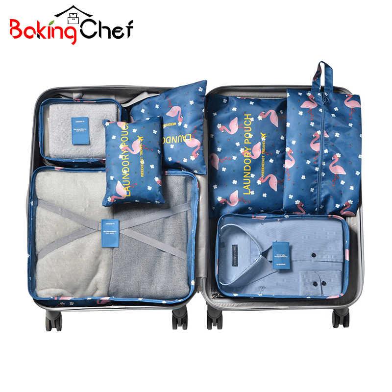 13cabf6ff0b3 BAKINGCHEF 7 шт./компл. модные дорожная сумка для хранения Женская одежда  Нижнее белье