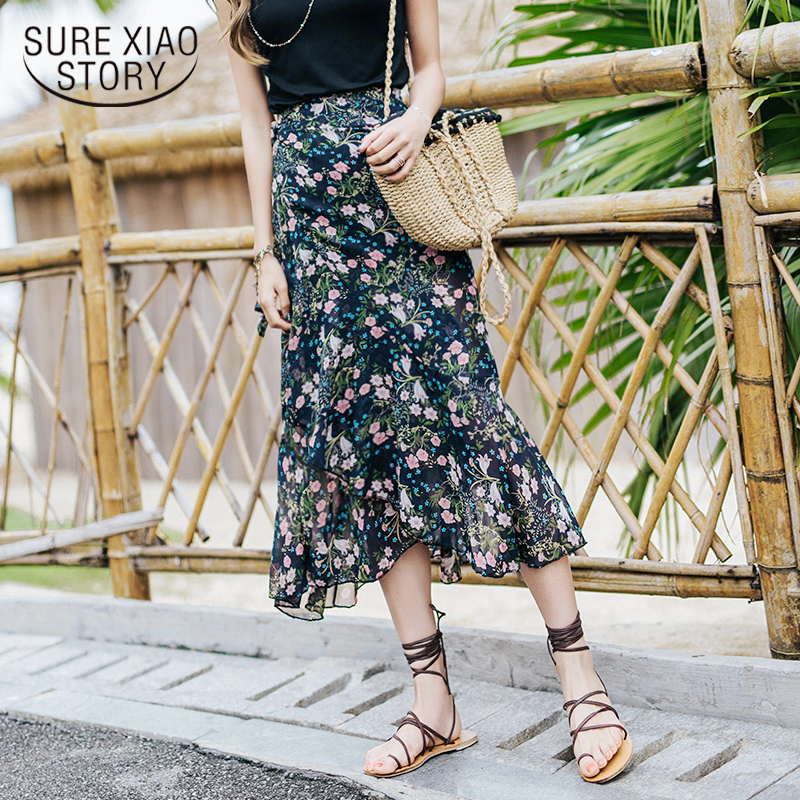New 2018 Summer Sweet Holiday Casual Chiffon Women Skirts Fashion Bohemian Floral Empire ...