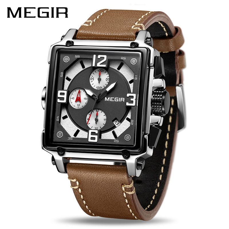 MEGIR Creative Men Watch Top Brand Luxury Chronograph Quartz Watches Clock Men Leather font b Sport