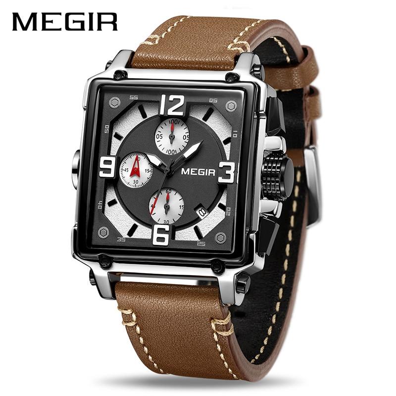 MEGIR Creative Men Watch Top Brand Luxury Chronograph Quartz Watches Clock Men Leather font b Sport