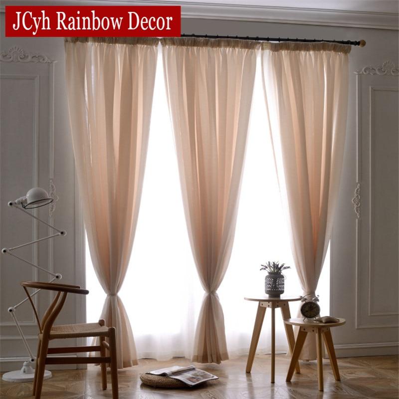 Wit linnen tulle gordijn voor woonkamer slaapkamer effen meisjes - Thuis textiel