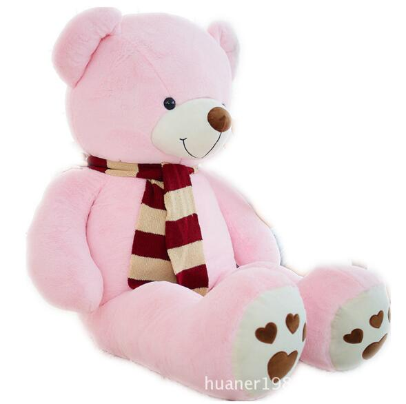 180cm Giant Fat edition teddy bear scarf doll plush toy large hug bear girlfriend gift the lovely bow bear doll teddy bear hug bear plush toy doll birthday gift pink bear about 120cm