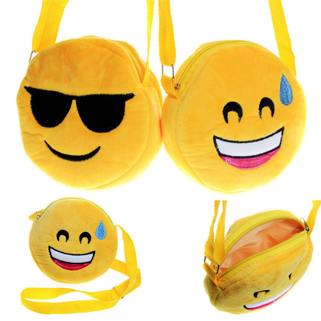 Fashion Emoji Emoticon Bag With Strap Smile Face Keychain Phone Chain Keyring Holder Soft Toy Bag Accessory Kids Birthday Gift