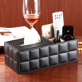 PU Leather multifunctional desktop remote control storage box fashion coffee table box tissue pumping box