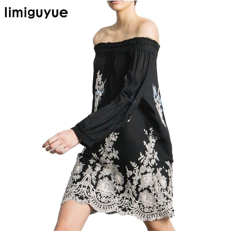 las mujeres de verano de boho vestidos de cuello raya vertical de estilo chino corto bordado