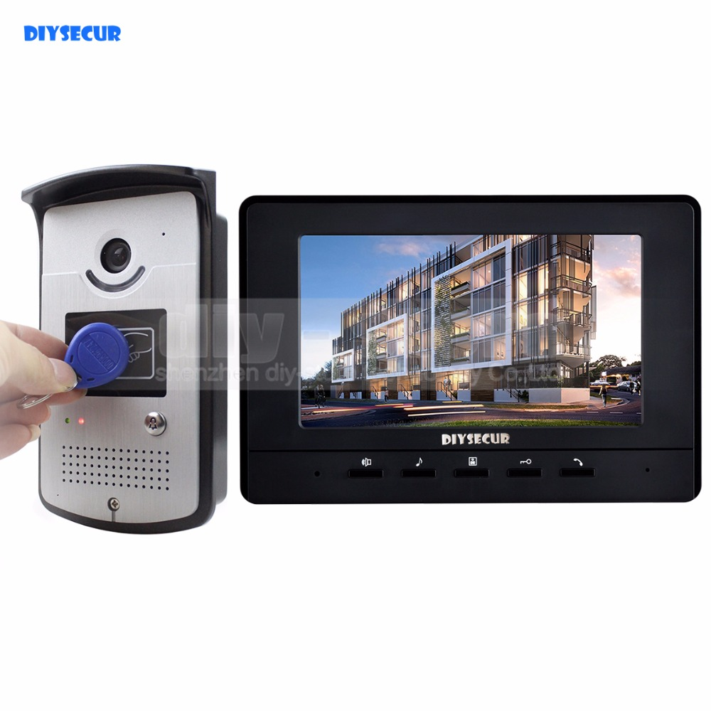 цены DIYSECUR 7 inch Wired Video Door Phone Doorbell Home Security Intercom System RFID Camera