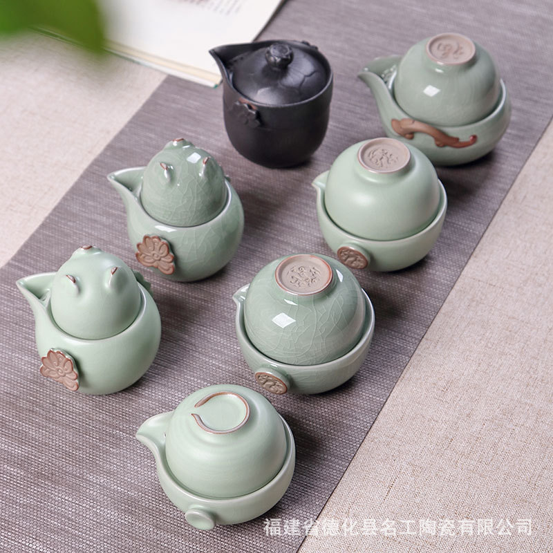China Kung Fu Tea Set Ceramic Portable Travel Tea Cup Set Drinkware 1 Pot 2 Cups Teaware Home Office Vintage Drinkware Gaiwan