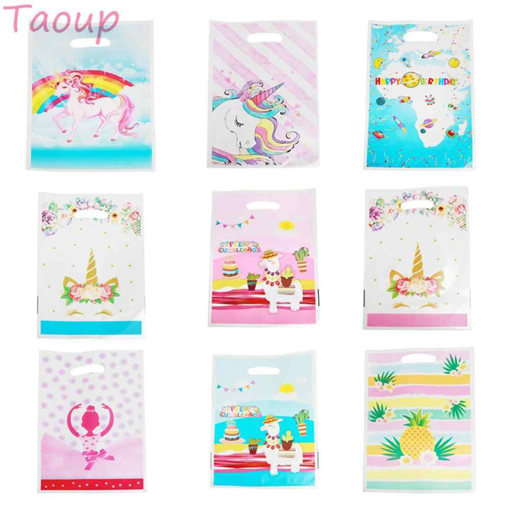 Taoup 10pcs Unicorn Gift Bags Wrapping Supplies Candy Bags for Unicorn Birthday Party Decor Flamingo Alpaca Pineapple Gifts Bags