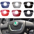 For SKODA Octavia 2010 To 2013 Steering Wheel Center Car Styling The Carbon Fiber And Frosted Flash Car Stickers