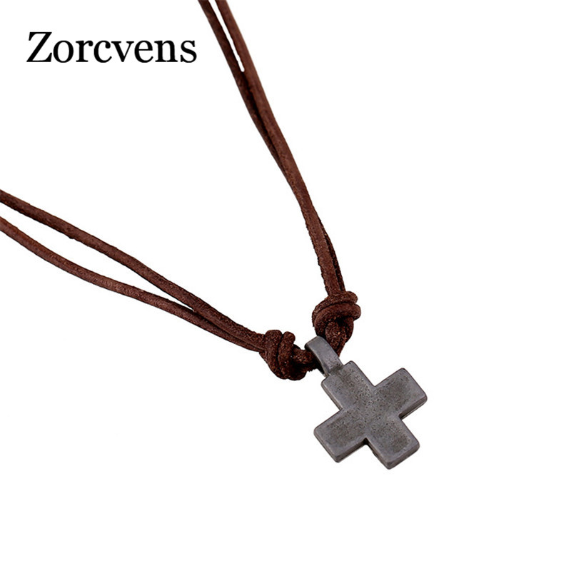 ZORCVENS New Fashion Collars Leather <font><b>Vintage</b></font> Alloy <font><b>Cross</b></font> Pendants <font><b>Necklaces</b></font> for Women Men Jewelry image