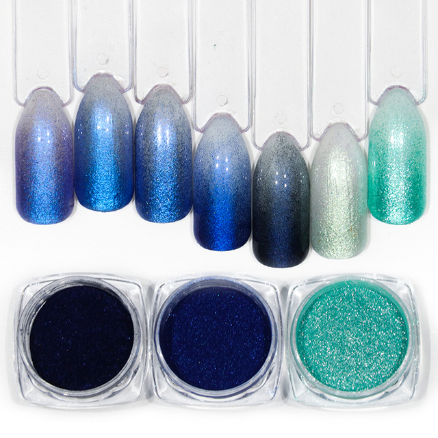 1 Bottle Glitter Nail Powder Dust Blooming Art Design Mermaid Shimmer Blue Color Decor Dipping Pigment Manicure Labj