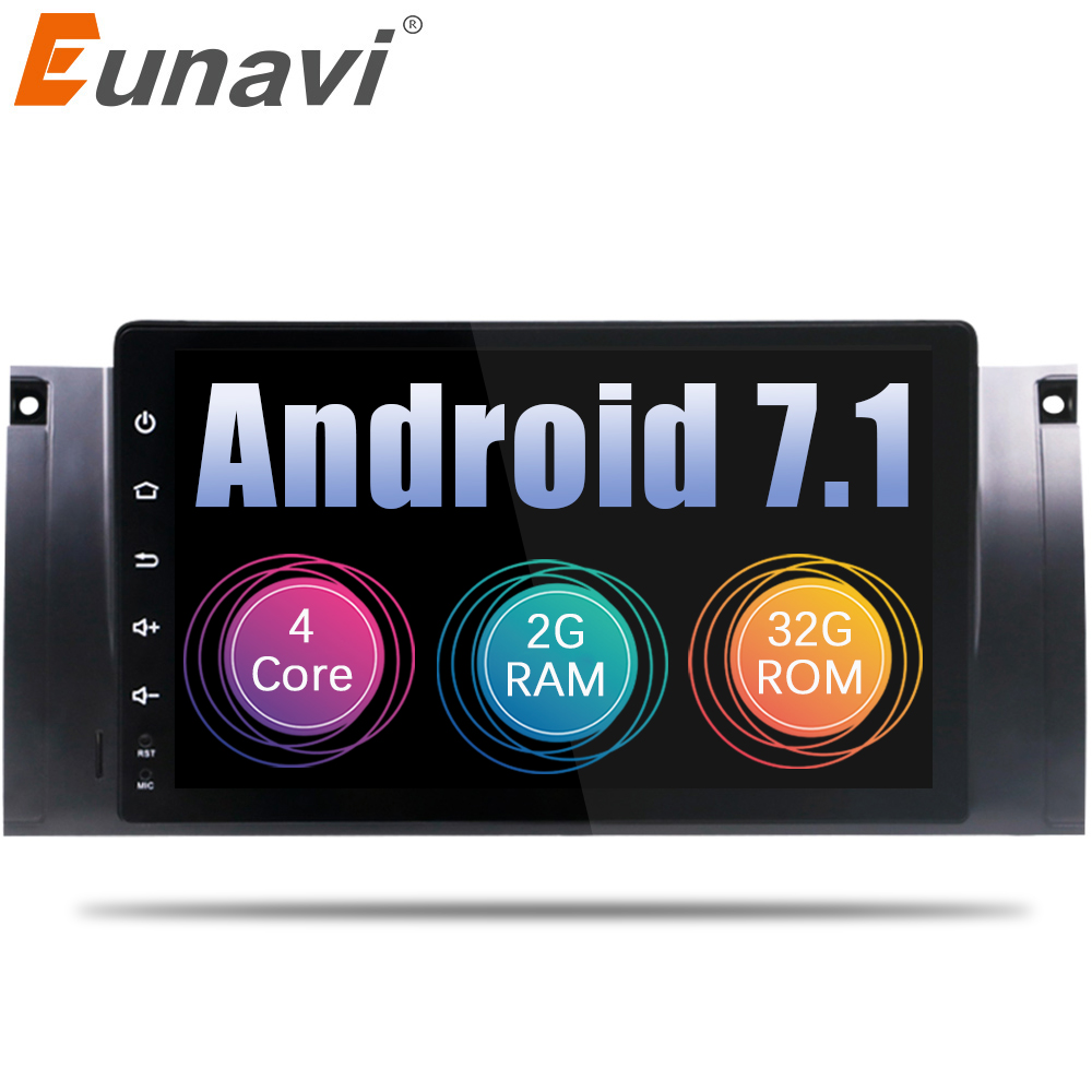 Eunavi 1 Din Android 7.1 8.1 HD 1024*600 Car DVD GPS 9'' Car Radio Stereo For BMW E53 E39 X5 WiFi 3G GPS Audio Player+Bluetooth цена 2017
