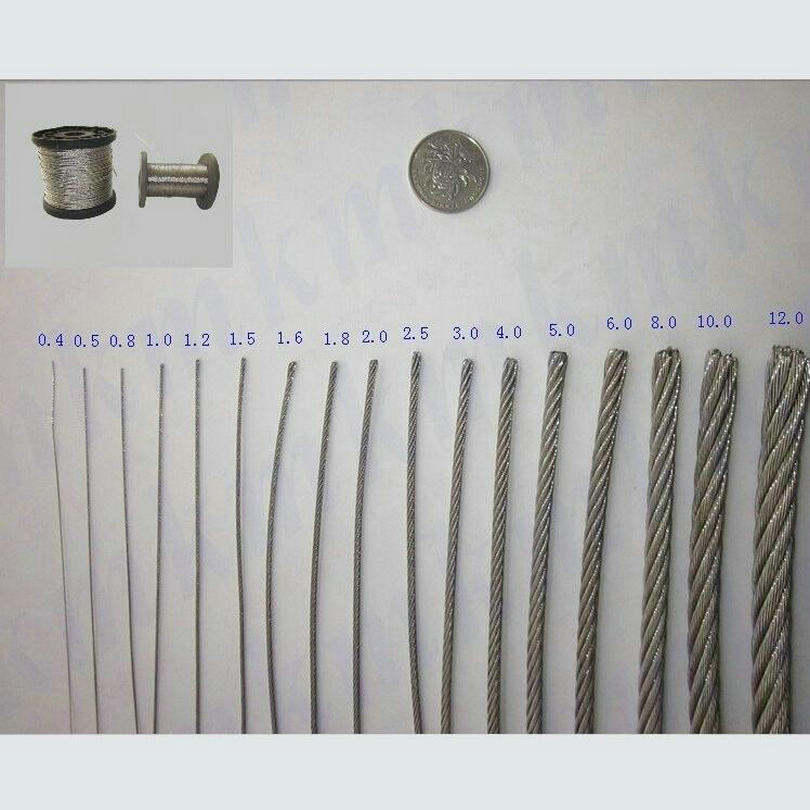 HQ HW02 SS316 Marine Grade Stainless Steel Wire Rope Cable 7X7 Structure Rope 0.5MM-2.5MM Diameter