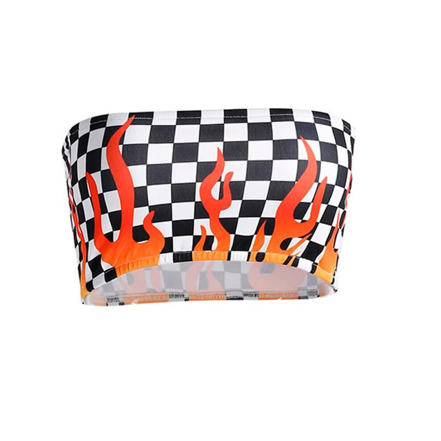 d214c20be7 Checkered Flame-Tube Crop Top