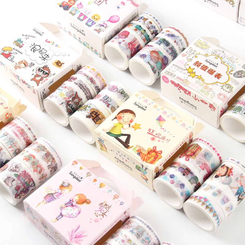 1box Washi Paper Tape Set Japanese Style Fairy Tale Girl Antique Techo Decoration Stickers