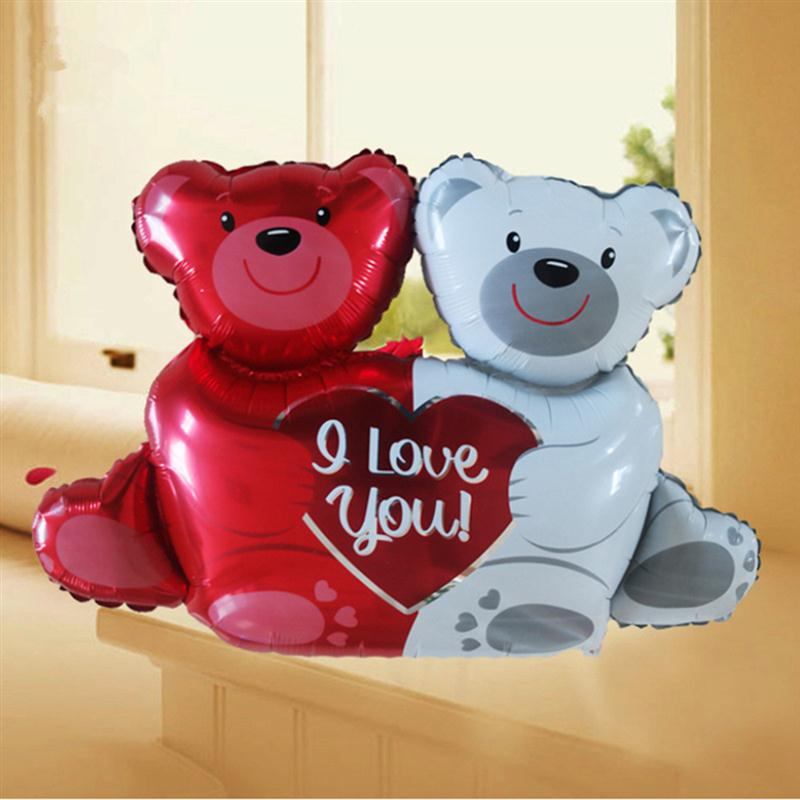 "40"" Love Love Bear Foil Balloons Wedding Decorations Helium Balloon Birthday Balloons Inflatable Toys Air Ball Party Suppiles"