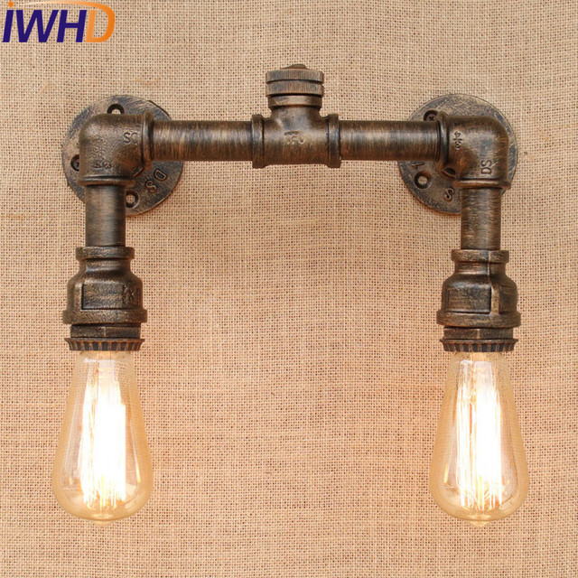 IWHD Loft Retro Iron Water Pipe Lamp Industrial Edison Wall Sconce Switch  Vintage Wall Light Fixtures