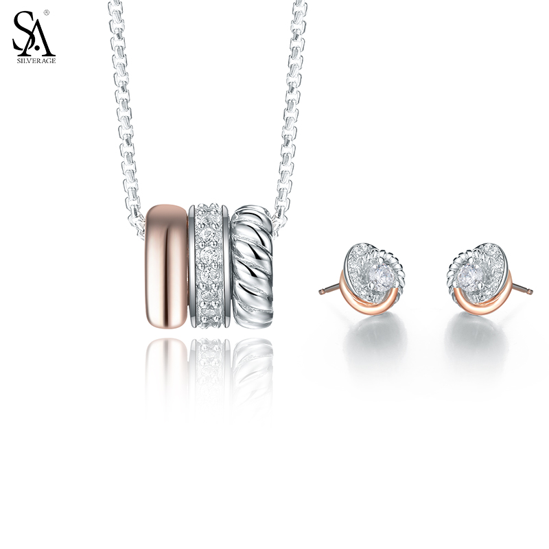 все цены на SA SILVERAGE Authentic Sterling Silver Jewelry Set Necklaces & Stud Earrings Fine Rose Gold AAA CZ Jewelry Sets for Party Gift онлайн