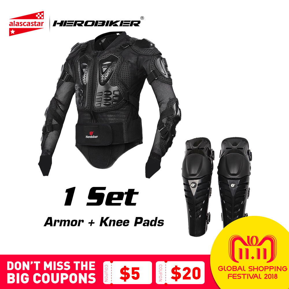 HEROBIKER Motorcycle Protection Moto Armor Motocross Protective Gear Motocross Armor Motorcycle Jacekt Armor with Moto Knees Pad цены